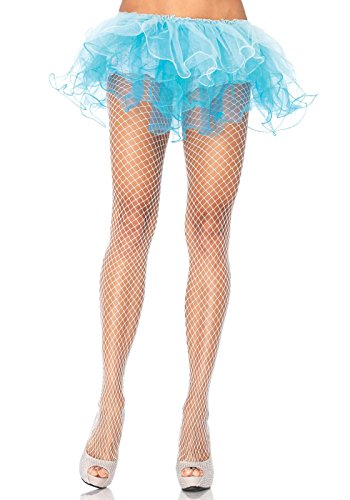 Leg Avenue Women's Industrial Net Pantyhose, White, One Size (Red Fishnets)