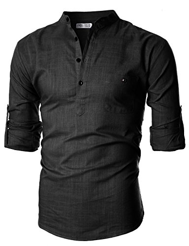 Ohoo Mens Slim Fit Ultra Light Cotton Linen Blend Long Sleeve Popover Work Shirt/DCC006-BLACK-S