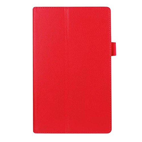 GBSELL Basic Leather Case Stand Cover For Amazon Fire HD 8 Tablet (Red)