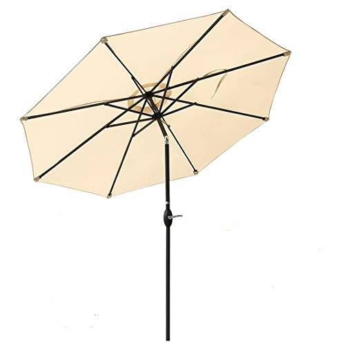 JEAREY Patio Umbrella – 9Ft Outdoor Market Table Umbrellas with Push Button Tilt and Crank Lift 8 Sturdy Ribs Turquoise