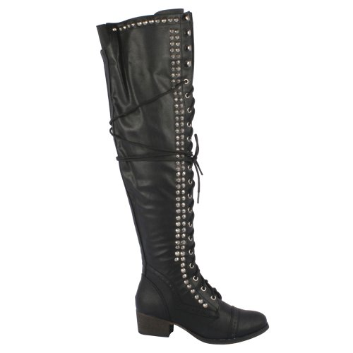 Breckelles-Womens-Alabama-13-Over-the-Knee-Studded-Lace-Up-Boot