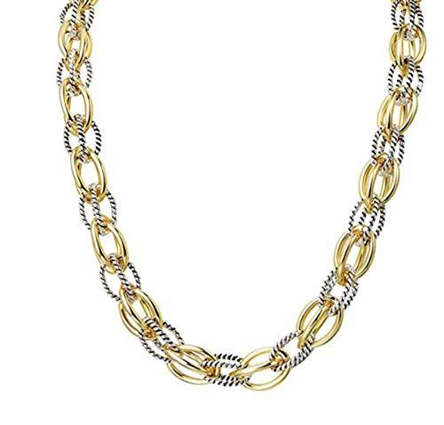 - MH^2 Inc Designer Brand Inspired- Antique Vintage Retro Unique Women's Jewelry- 2 Tone Double Twist Wire Oval Link 18
