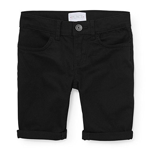 The Children's Place Big Girls' Basic Denim Skimmer Shorts, Black 3994, 14