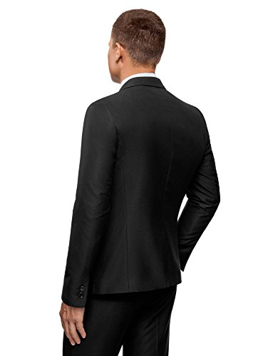 Con Slim Raso Giacca Uomo In Ultra Oodji Nero2900n Fit Revers WED29IH