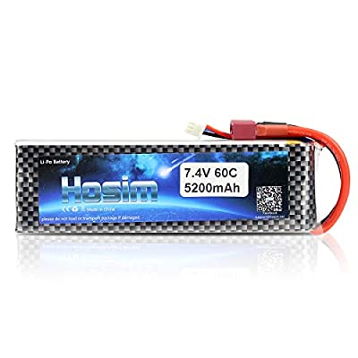 Hosim 2S 7.4V 5200mAh 60C Lipo Battery with Dean-Style T Connector for RC Boat Airplane Helicopter Kyosho FPV Quadcopter Drone Remote Control Car Toys Hobby