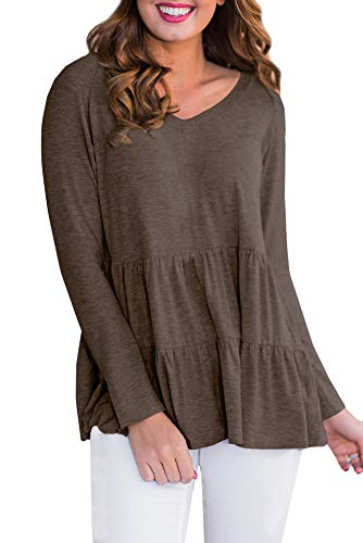 For G and PL Womens Casual Pleated Fashion Blouse V Neck Long Sleeve Loose Ruffle Hem Shirt Coffee M
