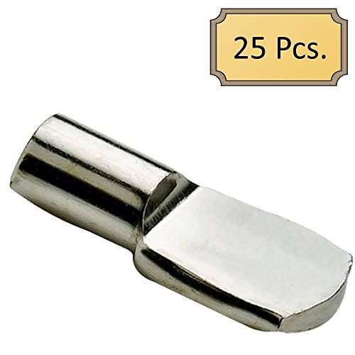 5mm 'Spoon' Style Cabinet Shelf Support Pegs - Polished Nickel - Package of 25