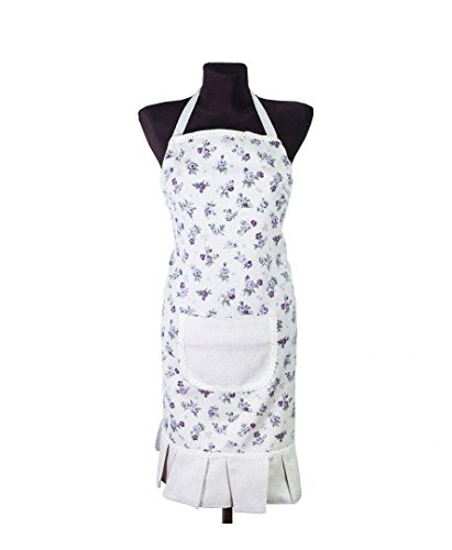 (Provence Cotton Apron with Front Pocket in French Country Style - Cotton Lace - Lilac Rose)
