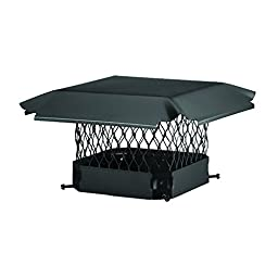 Draft King CBO1515 Bolt On Black Galvanized Steel Single Flue Chimney Cap, 15\