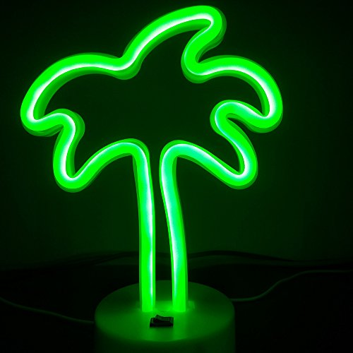 ARTSTORE LED Neon Light Sign Palm Tree Neon Sign with Base Holder Decorative Lighting USB Charging Birthday Christmas Gifts for Kids Wedding Home Party Table Decoration