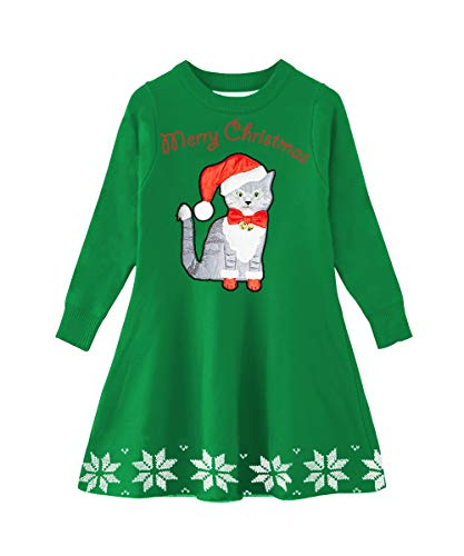 Idgreatim Kids Toddler Girls Ugly Christmas Cat Kitten Snowflake Sweater Dress Xmas Gifts Knit Flared Sweaters Dresses for Winter Party Green S