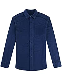 Men's Long Sleeve Solid Color Button Up Casual Flannel Shirt