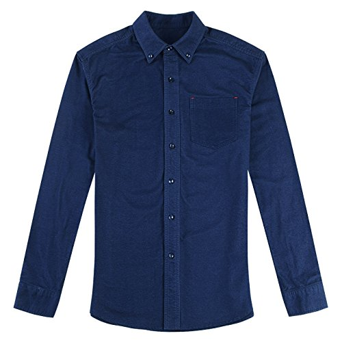 Howriis Mens Long Sleeve Solid Color Button Up Casual Flannel Shirt