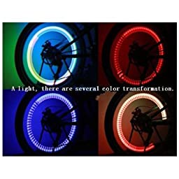 TOOGOO Colorful LED Automatic change color Flash Tyre Wheel Valve Cap Light for Car Bike bicycle Motorbicycle Wheel Light Tire Light