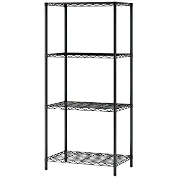 MULSH 4 Tier Wire Shelving Metal Wire Shelf Storage Rack Durable Organizer  Unit Perfect For