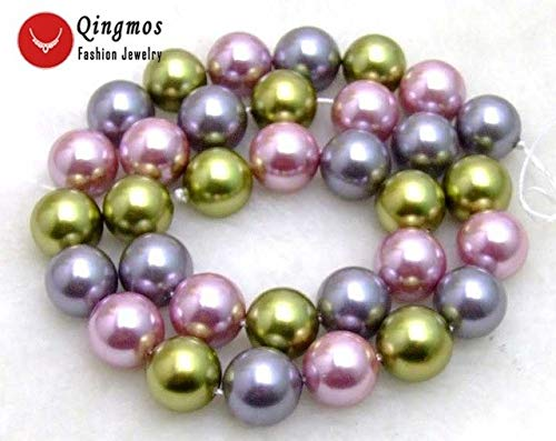 Calvas 12mm Round Multicolor (Green Pink Gold White) Sea Shell Pearl Beads for Jewelry Making DIY Necklace Bracelet Strand 15