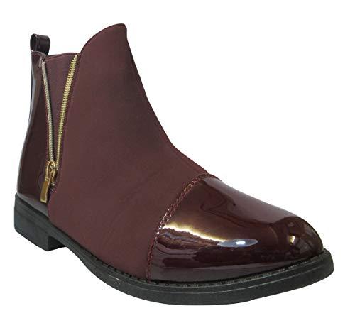 Ankle Sky Tailles Ladies Red Cubain Block Walker Designer Low zip Talon Chaussures Bottes Flat Boucle Womens 3 Chelsea 8 R4qTxtwrf4