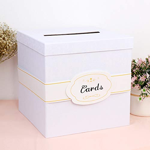 OurWarm White Gift Card Box with Cards Label, Large Size Money Box Card Box for Graduation Party, Wedding Reception, Birthday Party, Baby Shower (10