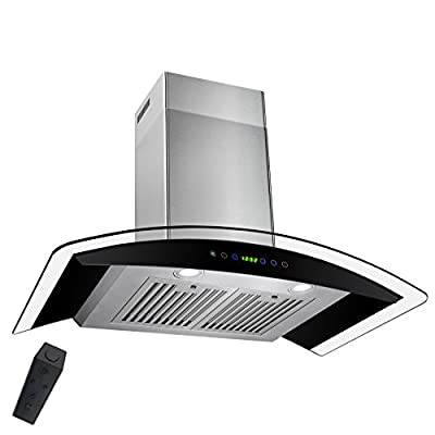 """AKDY 36"""" Wall Mount Stainless Steel Tempered Glass Touch Panel Kitchen Range Hood Cooking Fan with Remote Control"""