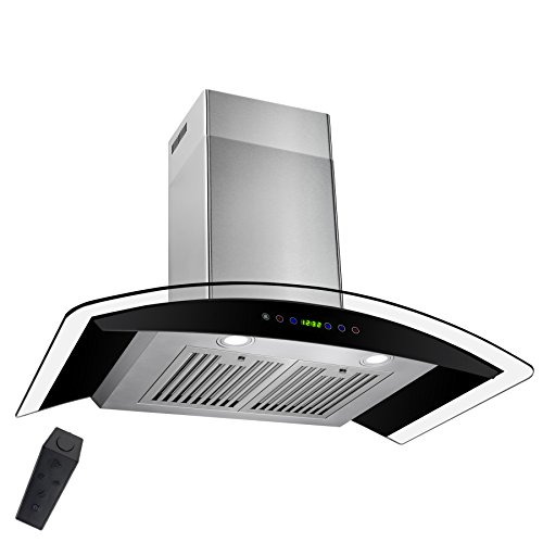 AKDY 36″ Wall Mount Stainless Steel Tempered Glass Touch Panel Kitchen Range Hood Cooking Fan with Remote Control