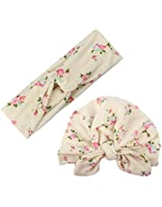 2pcs Mom Kids Bohemia Floral Print Hairband Turban Knot Rabbit Ears Headband Mother Baby Elastic Headwear Set Rice white