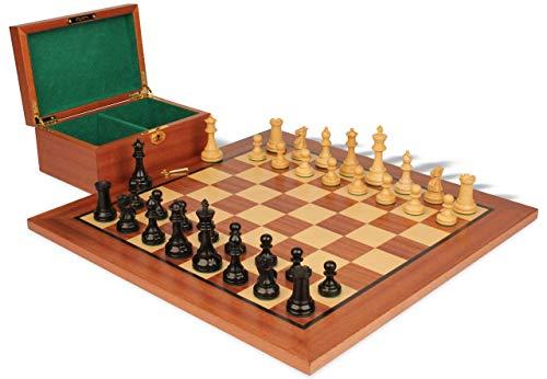 (British Staunton Chess Set Ebony & Boxwood Pieces with Mahogany Board & Box - 4