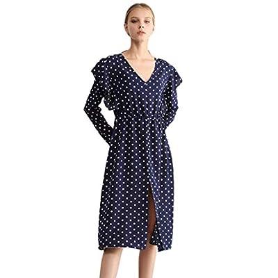 PASATO Women High Waist Dot Printed Ruffle Deep V Neck Long Sleeve Loose Casual Long Maxi Dress