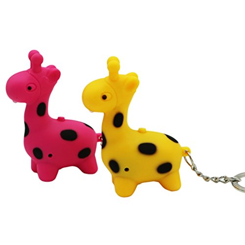 Viawow 2 Pcs Giraffe Deer Handbag Bag Purse Women Child Charm with Mini LED Flashlight Lamp Keychain Car Key Ring Chain Hook Clip (K279)