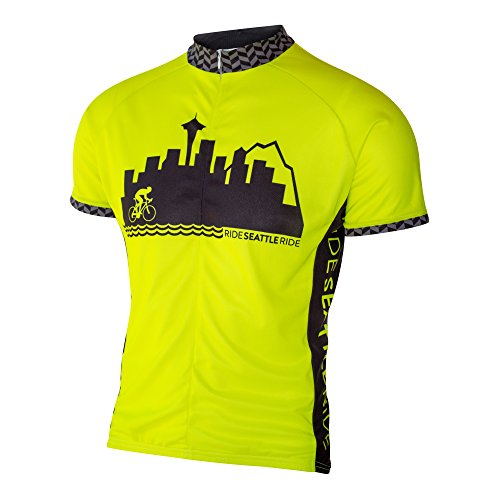 Ride Seattle Skyline Cycling Jersey, Fluorescent Neon High Visibility Yellow, Men's Relaxed Club Cut