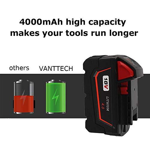 2Pack 18V 4.0Ah Battery for Milwaukee 18 Volt Lithium Battery Power Tools 48-11-1820 48-11-1840 48-11-1850 48-11-1828 48-11-1815
