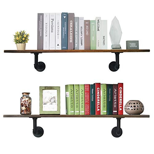 (PUNCIA 2 Pack Super Long Wall Floating Wood Kitchen Storage Shelf Farmhouse Wall Bookcase Shelves,Farmhouse Floating Wall Decor Kitchen Shelves (39in8in0.8in2Pack))