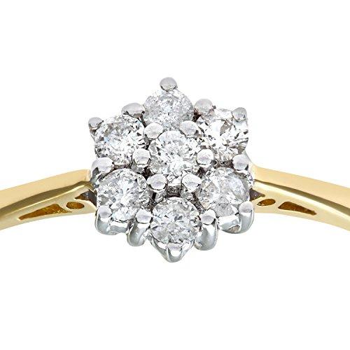 Bague Femme - Or jaune (18 carats) 2.3 Gr - Diamant 0.25 Cts