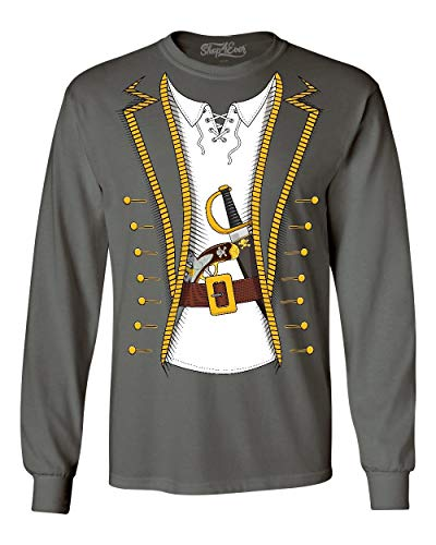 Shop4Ever Pirate Buccaneer Costume Long Sleeve Shirt XX-LargeCharcoal -