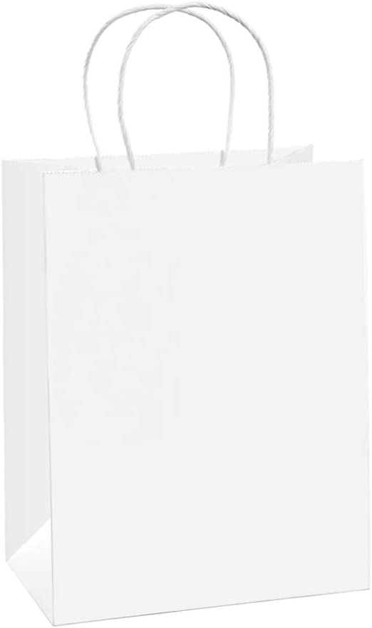 BagDream Gift Bags 8x4.25x10.5 100Pcs Paper Bags, Shopping Bags, Kraft Bags, Retail Bags, Party Bags, White Paper Gift Bags with Handles Bulk 100% Recycled Paper Bags
