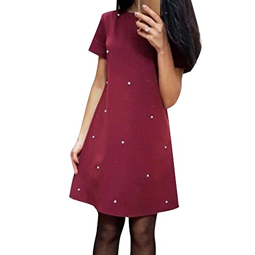 Manches Col Rouge Lache Courtes Robe t Femme Cocktail Dcontracte Dress Casual Rond Patineuse Soire Dihope Pure Midi n1CqBAx8Y