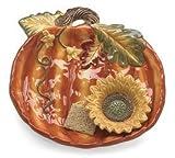 Autumn/fall Pumpkin & Sunflower Chip & Dip Platter Ceramic Grateful Harvest