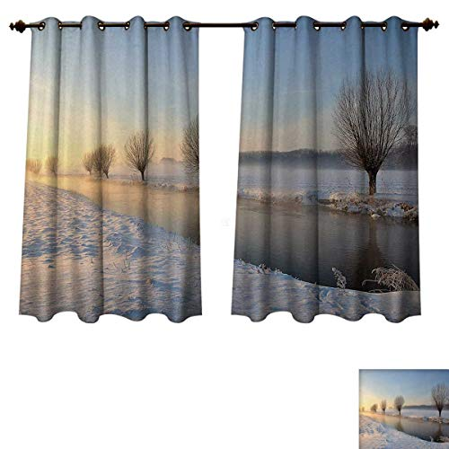 Anzhouqux Winter Blackout Thermal Curtain Panel Snowy River Landscape Barren and Frosted Trees Dutch Netherlands Europe Photograph Patterned Drape for Glass Door Multicolor W72 x L84 inch