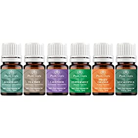 Essential Oil Variety Set Kit - 6 Pack - 100% Pure Therapeutic Grade 5 ml. Set includes- (Peppermint, Lavender, Sweet Orange, Rosemary, Eucalyptus & Tea Tree)