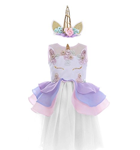 Envie Bebe Pastel Unicorn Party Dress With Unicorn Horn Headband (5 Years) -