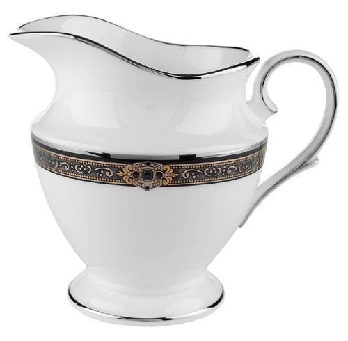 Lenox Vintage Jewel Platinum-Banded Bone China Creamer - China Dishwasher Safe Creamer