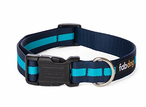 fabdog Classic Stripe Dog Collar Blue (Large)