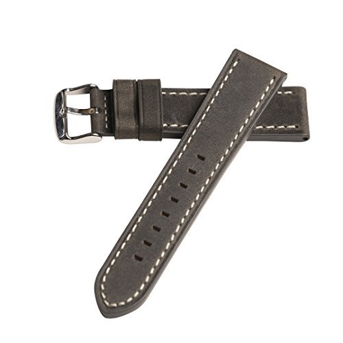Hadley Roma MS854 22mm Gray Oil Tan Distressed Leather Stitched Men's Watch Band