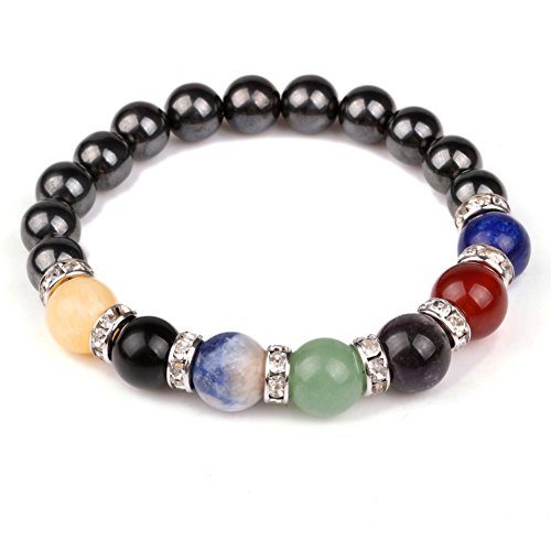 JDZ Amulets Chakra Hematite Bracelet Healing Crystal Magnetic Therapy Stretch Stone Beaded Bracelet(8mm) For Men&Women (Therapy Beaded Magnetic Bracelets)