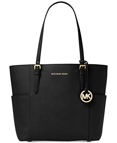 Michael Kors Women's Large Jet Set Travel Leather Top-Handle Tote - Black by MICHAEL Michael Kors