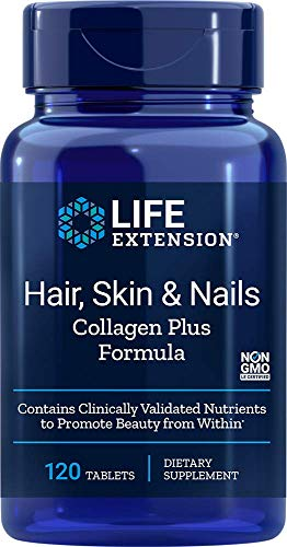 Life extension Hair, Skin, Nails- Collagen Plus, 120 Tablets (Hair Extensions Large)