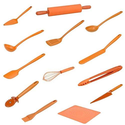tefal vitamine set de 13 ustensiles de cuisine silicone orange - Ustensile Utile