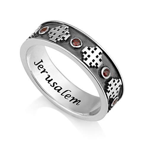 - Marina Jewelry 925 Sterling Silver and Ruby Ring, Womens or Mens Band, Embossed Jerusalem Cross