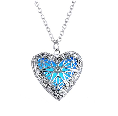 Winter's Secret New Fashion Glow Hollow out Noctilucence Heart Pendant Open Alloy Necklace