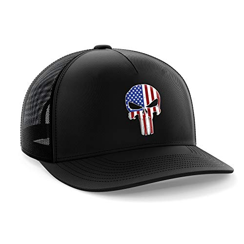 (Tactical Pro Supply Punisher USA American Flag Snapback Hat)