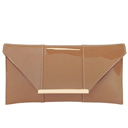Faux Patent Leather Envelope Candy Clutch, Taupe